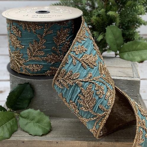 Celedon Embroidery Floral Taffeta Ribbon