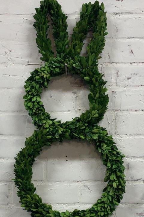 "25"" Preserved Boxwood Bunny Wreath"