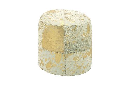 Round Cowhide Ottoman- Ivory/Gold Metallic