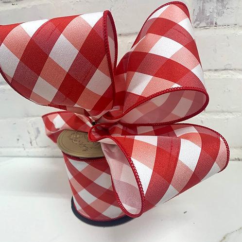 """4"""" Diagonal Buffalo Check Red White Ribbon"""