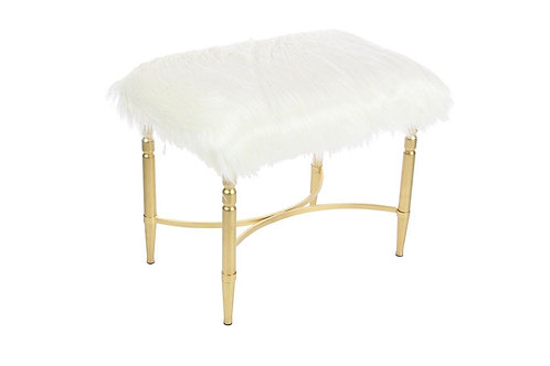 White Faux Fur Stool with Gold Legs