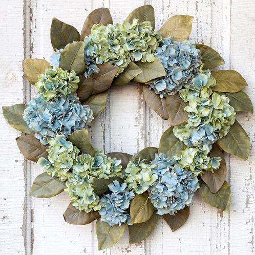"24"" Hydrangea and Magnolia Wreath"