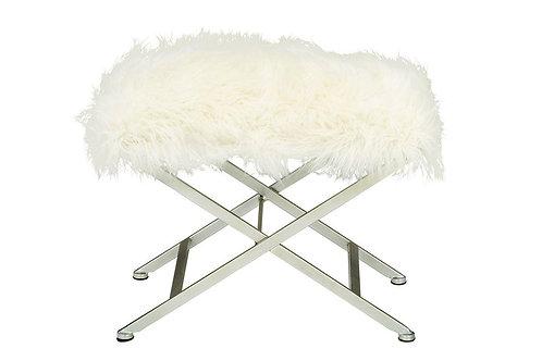 White Fur Stool Cross Legs