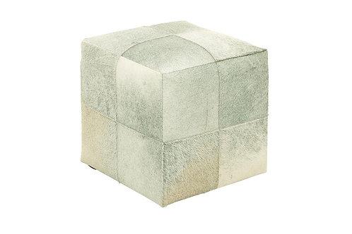 Square Cowhide Ottoman - Grey/Neutral