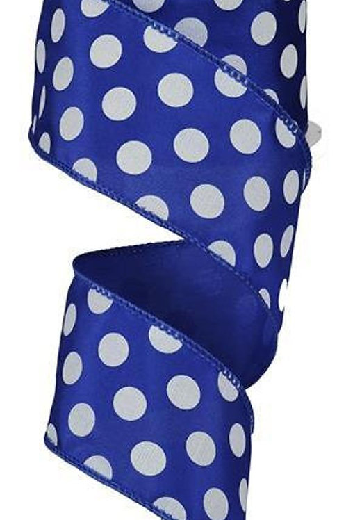 """2.5"""" Dot Royal Blue with White Ribbon"""