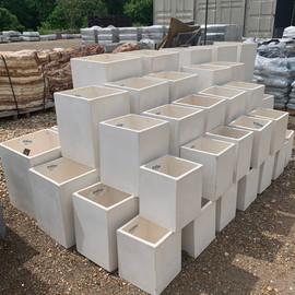 Fiberclay Planter - White Stone