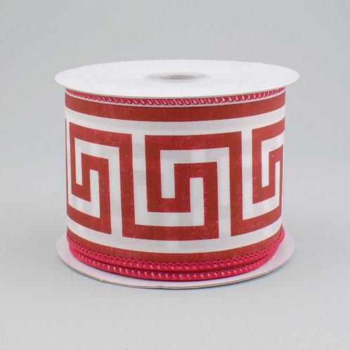 "2.5"" Greek Key White on Red Ribbon"