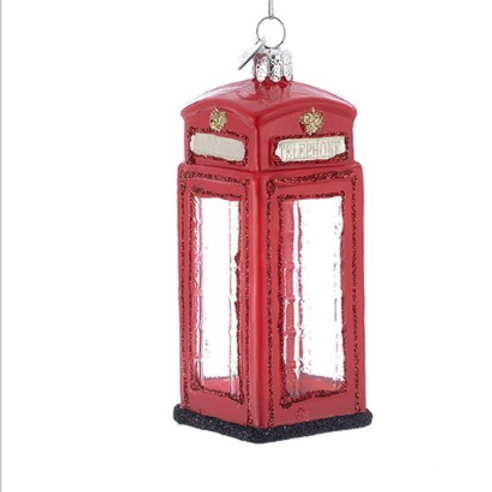 "4"" Phone Booth Ornament with Glass"