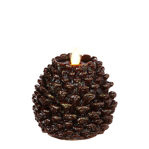 """4.5 """"X4.5 """" Moving Flame Glittered Pinecone Candle"""