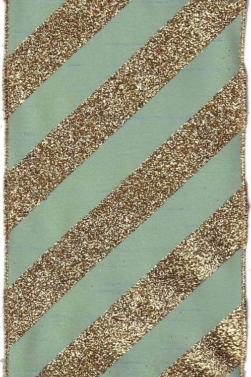 Turquoise Bold Glitter Stripe Ribbon