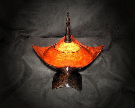 Amboyna Pedestal Dish w/Blackwood
