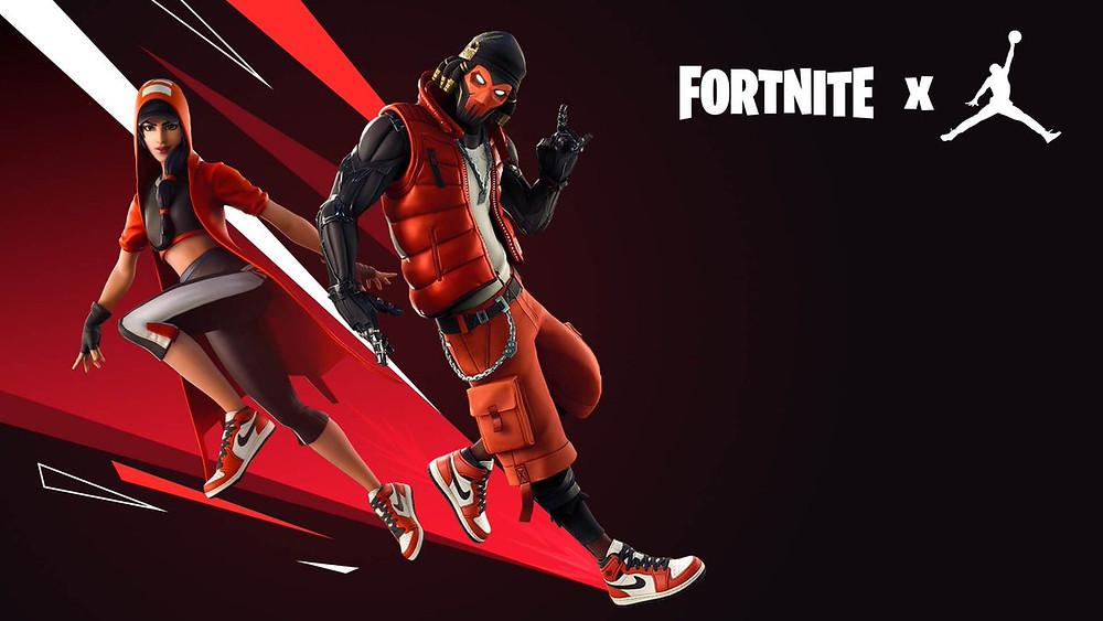 Two Fortnite characters dressed in custom Nike skins.