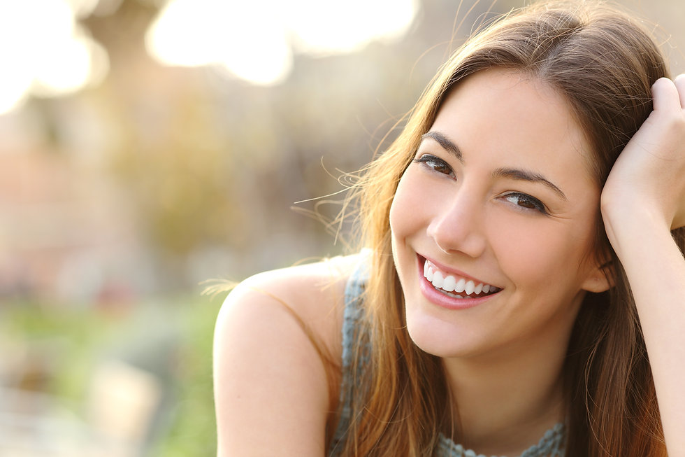 Woman smiling with perfect smile and whi