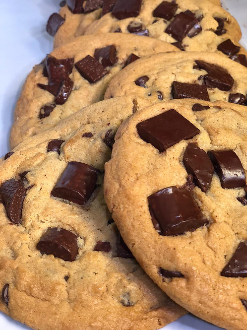 FRESH BAKED OVERSIZE CHOCOLATE CHUNK COOKIES- PARVE (1 dz)