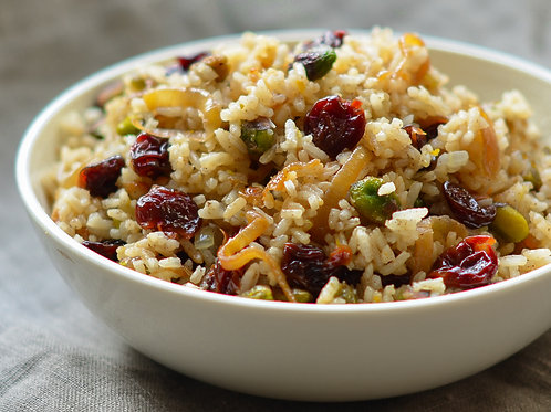 "JEWELED WILD & BASMATI RICE WITH CRAISINS, ORANGE ZEST, & PISTACHIO (9"" Round)"