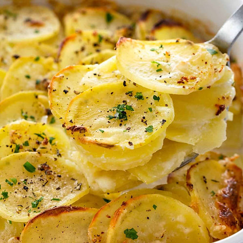 "SCALLOPED POTATOES, CARAMELIZED ONIONS (9"" Round)"