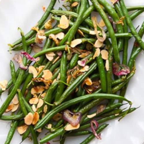 "HARICOTS VERTS WITH TOASTED ALMONDS & CARAMELIZED SHALLOTS (9"" Round)"