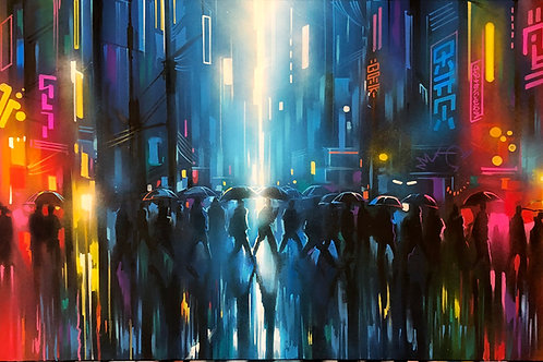 SOLD - 'Neon Streets' - Original painting on canvas