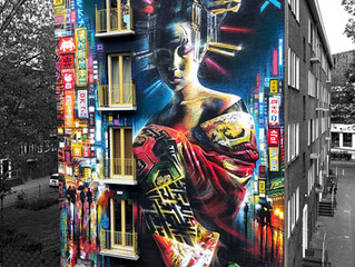 Amsterdam 50ft geisha mural !