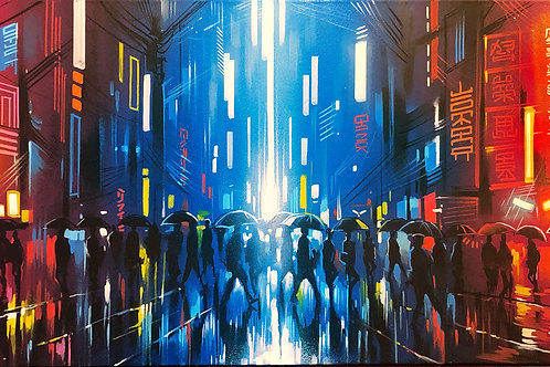 'Neon Streets' - Original painting on canvas