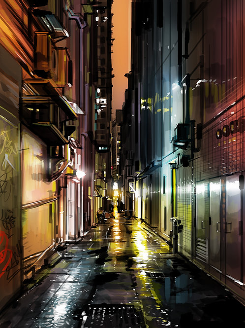 'Alleyways Hong Kong' - Hand finished limited edition print
