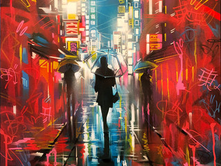'Tokyo Tags' - Original painting on canvas