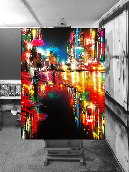 'Neon Waves' - Original painting on canvas