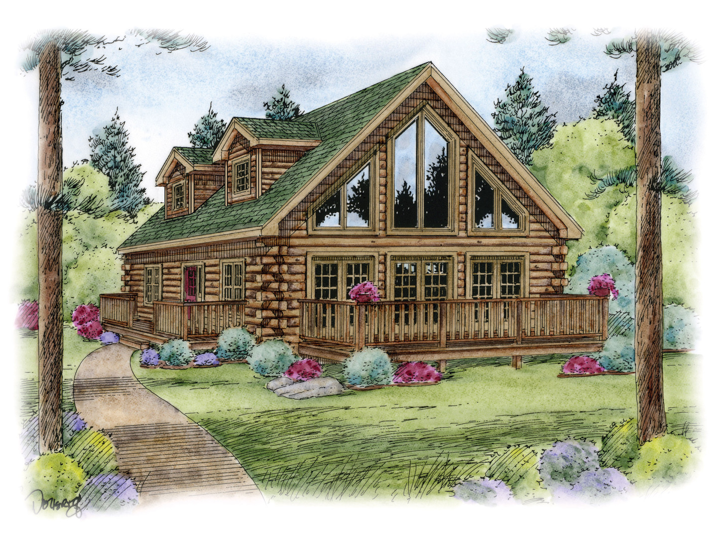 Cedarwood Log TwoStory Home