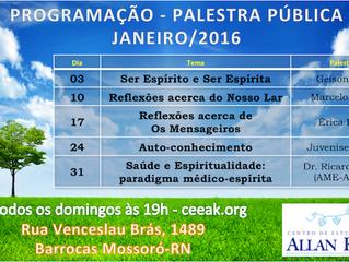 Palestras Públicas - Janeiro/2016