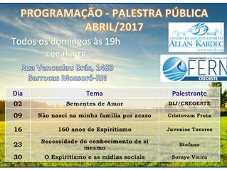 Programação de Palestras Públicas - Abril/2017