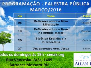 Programação de Palestras Públicas - Março/2016
