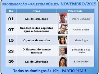 Programação de Palestras Públicas - Novembro/2015 - CEEAK