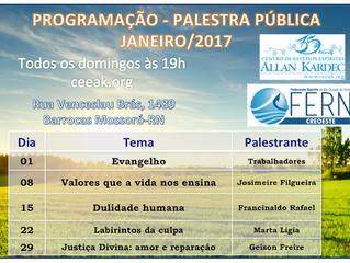 Programação de Palestras Públicas Janeiro 2017