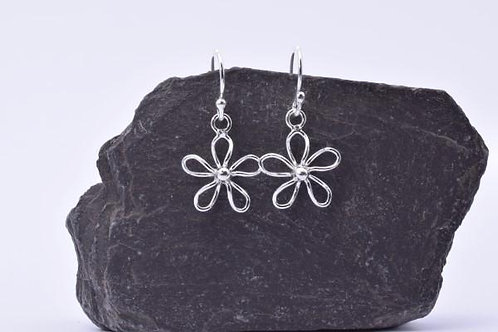 Wire Work Daisy Drop Earrings - 925 Sterling Silver
