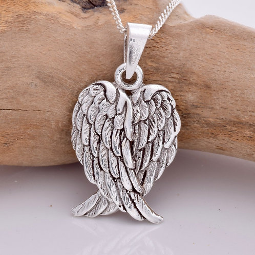 Folded Angel Wings Pendant - 925 Sterling Silver