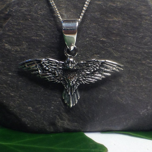 Flight Of The Raven Pendant - 925 Sterling Silver