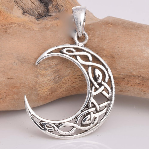 Celtic Knot Work Moon Pendant - 925 Sterling Silver