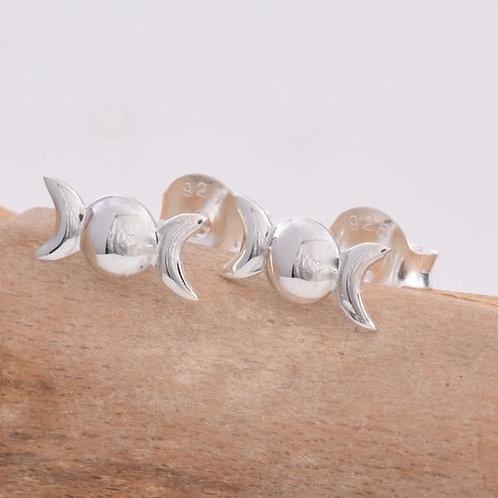 Triple Moon Stud Earrings - 925 Sterling Silver