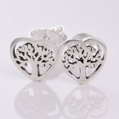 Tree of Life Heart Shape Stud Earrings - 925 Sterling Silver