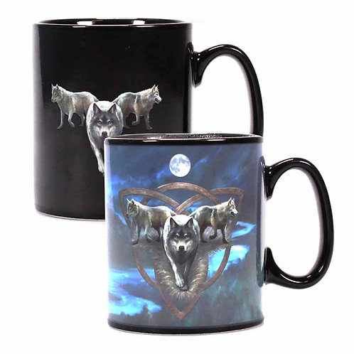 Wolf Trio Heat Changing Mug By Anne Stokes