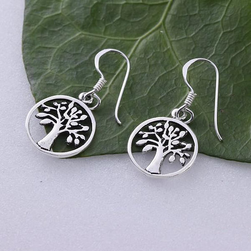 Tree of Life Drop Earrings - 925 Sterling Silver