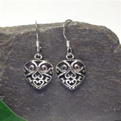 Filigree Heart Drop Earrings - 925 Sterling Silver