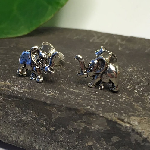 Cute Silver Elephant Stud Earrings - 925 Sterling Silver
