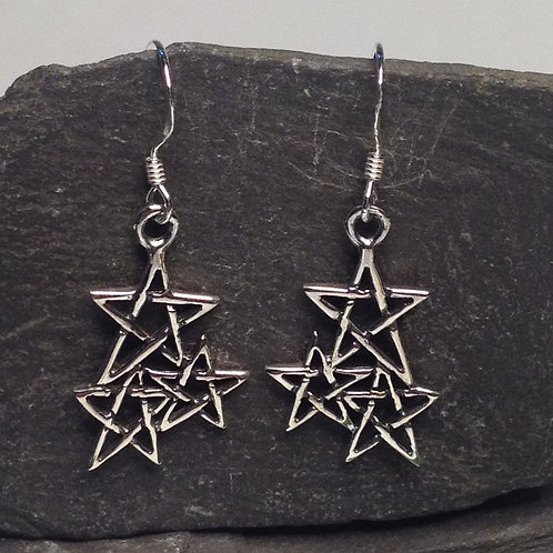 Triple Star Drop Earrings - 925 Sterling Silver