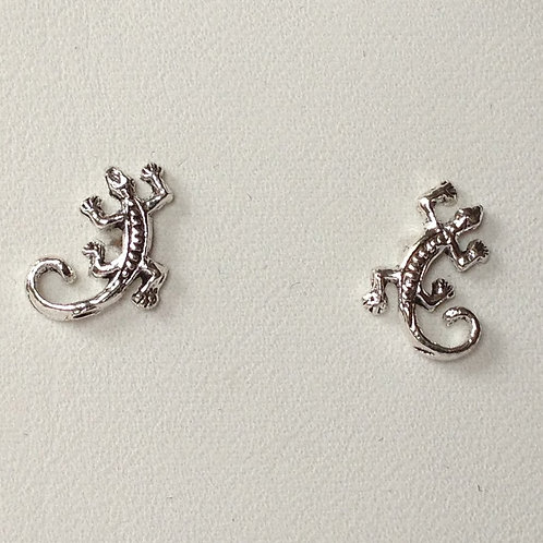 Gecko Stud Earrings - 925 Sterling Silver