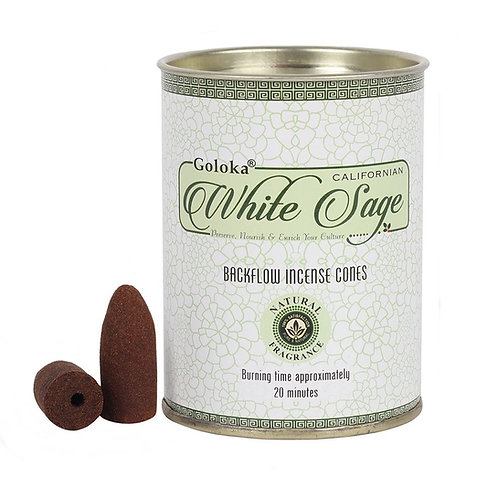 White Sage Backflow Incense Cones by Goloka