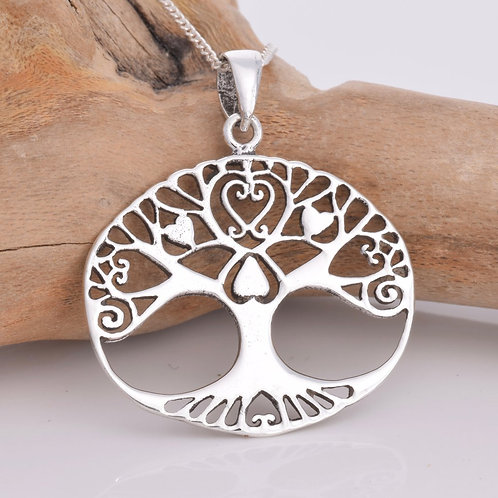 Tree of Life Pendant with Hearts - 925 Sterling Silver