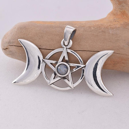 Triple Moon Pendant with Pentagram and Moonstone - 925 Sterling