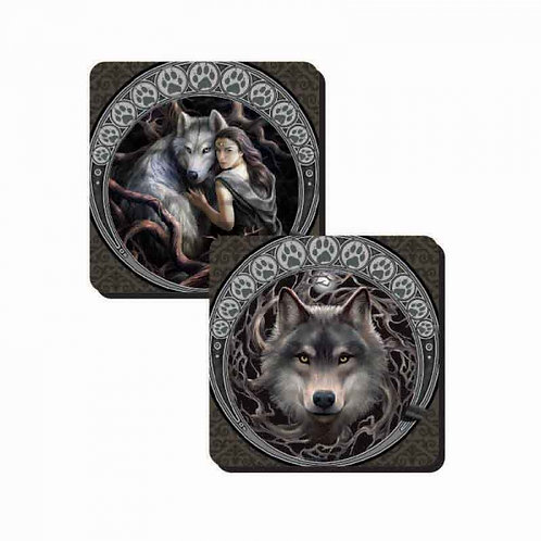 Wolves Coaster Set by Anne Stokes
