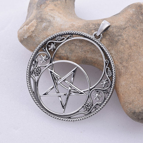 Chalice Well Pentacle Pendant - 925 Sterling Silver